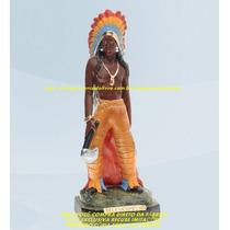Escultura Caboclo Pele Vermelha 30cm Imagem Melhor Preço Ml