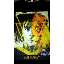 Camiseta Reggae Bob Marley Leão + Pulseira