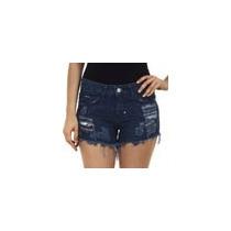 Short Feminino Em Jeans Com Destroyeds