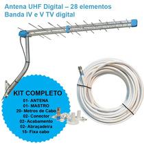 Kit Antena Externa Peixe Digital Mastro Cabo - Vhf Uhf Hdtv