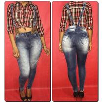Calça Jeans Legging Com Suspensório Meitrix- Cintura Alta