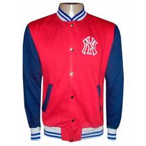 Blusa Moletom New York Yankees Verm E Az Marinho College