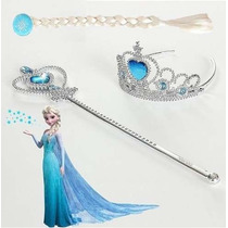 Kit Frozen, Personagen Elsa, Luva, Coroa, Trança E Varinha.