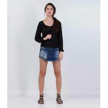 Short Saia Em Jeans Com Puidos