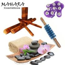 Kit Massagem Bambus Pedras Quentes Rolo Turbinada Luva