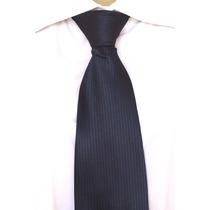 04 Gravatas Tradicional Listrada Trabalhada - Azul Marinho