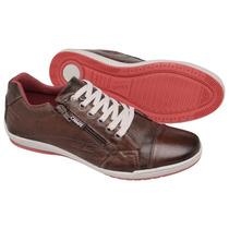 Sapatênis, Casual,stilo Ferracini, Ziper, Couro,tchwm Shoes