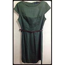 Zara - Lindo Vestido Sarja Com Cinto - Tam 38