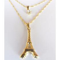 Colar Corrente Feminino Duplo Torre Eiffel Folheado A Ouro
