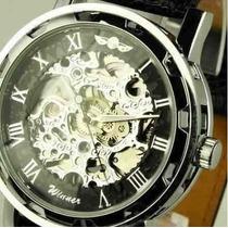 Relógio Pulso Winner Esqueleto Mecânico Caixa Transparente