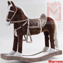 Cavalo Cavalinho De Balanço Madeira E Pelucia Para Crianças