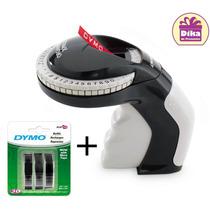 Kit Rotulador Manual Dymo + Kit Com 3 Fitas Pretas Vinílicas