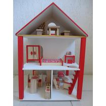 Casinha De Boneca Em Madeira Polly Rotativa Cor Vermelha