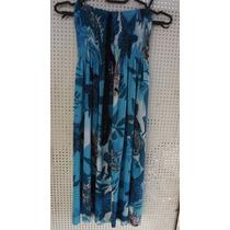 Vestido Tomara Que Caia Malha Fria Azul Estampada E Laço