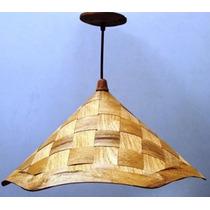 Luminária Rústica Artesanal Sextavada, Em Madeira 40x20cm