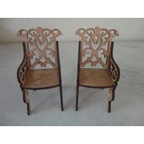 #9591# Par De Cadeiras Mdf Mini Com Braços Artesanal!!!