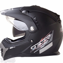 Capacete Cross Texx Mx Double Vision Oculos Interno - Fosco