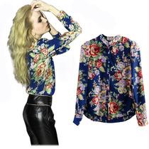 Blusa Camisa Vintage Importada Em Flores