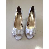 Sapato Noiva Branco Com Laço 39 - Salto 8