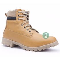 Sapato Coturno Bota Amarela Masculino Adventure Social Bege