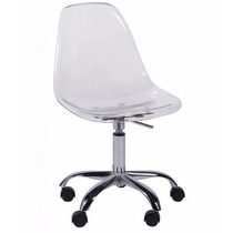 Cadeira Dkr Em Policarbonato Com Rodízio Eame - Transparente
