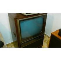 Antiga Tv Mitsubishi Colorida ( Móvel Que Gira) Conservada