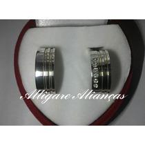 Aliança De Prata 950 14 Gramas O Par 7mm 4 Fios De Ouro