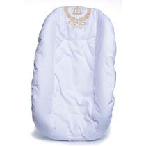 Capa Bebê Conforto Branca Bordada 100% Algodão - Super Macia
