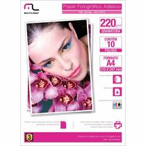 Papel Fotográfico Adesivo Alto Brilho 220g 10 Folhas A4