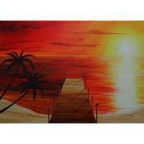 Pintura Óleo Sobre Tela - Paisagem (70x50cm) Sem Moldura