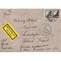 Zeppelin-envel.alemanha-curitiba-raro Carimbo Verde Natal-34