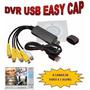 Placa De Captura Dvr Easycap 4 Canais Video E Audio Usb 2.0