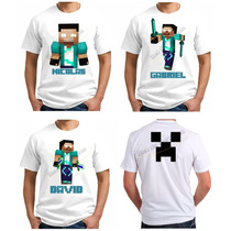 Camiseta Infantil Personalizada Minecraft Rezende Creeper