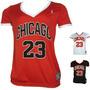 Camiseta Feminina Chicago Bulls Times De Basquete Vermelha