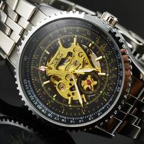 Relógio Jaragar Sport Luxo Skeleton Automático Dourado Preto