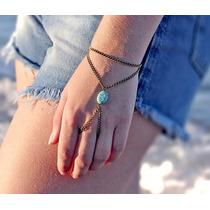 Anel Pulseira Hand Chain Indiana Howlita Pedra Turquesa