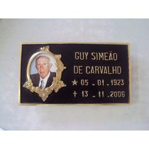Placa De Bronze C Foto 8x10cm Jazigos Túmulos Lápides Letras