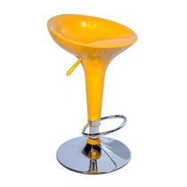 02 Banquetas Para Cozinha Americana Bombo Amarela Com N/f