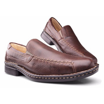 Sapato Masculino Costuras Conforto Antistress Couro Zalupe