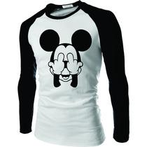 Camiseta Mickey Dedo Do Meio Raglan Manga Longa Rock