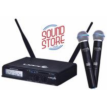 Microfone Lyco Uhxpro-02mm Uhf Sem Fio Duplo Lcd Com Maleta
