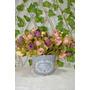 Lindo Vaso Azul C/ Flores Artificiais - Pronto P/ Decorar