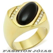 Anel Onyx Masculino Com Pedra Natural Preta - Luxo