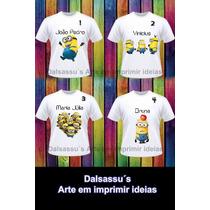 Camiseta Blusas Infantil Minions Personalizada Dalsassu´s