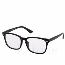 Armação Óculos Lentes Transparentes /s Grau Preto Brilhante