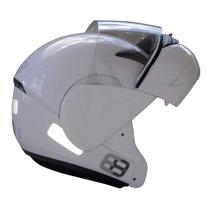 Capacete Moto Ebf E8 Articulado Robocop Branco Preto Fosco