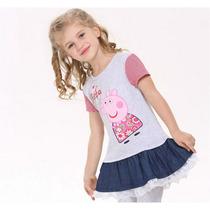 Vestido Peppa Pig 100% Algodão Com Jeans