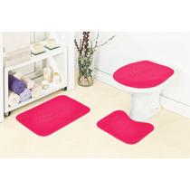 Jogo De Tapete Para Banheiro 3 Peças Pink Frete Grátis