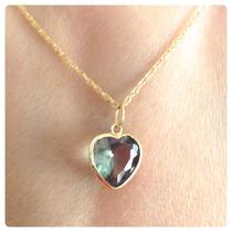 Cordão Feminino De Ouro 18k E Pingente Coração Cor Verde