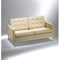 Sofa 2 Lugares Fk Florence Knoll Couro Ecologico Cromado